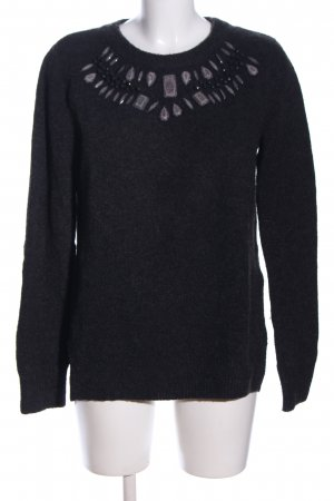 H&M Oversized Pullover schwarz meliert Casual-Look