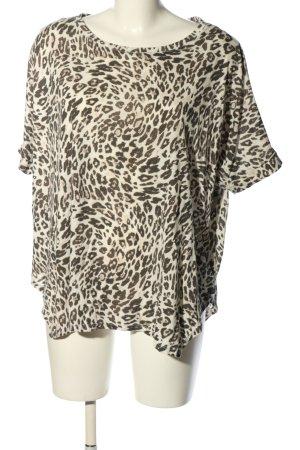 H&M Oversized Shirt creme-braun Animalmuster Casual-Look