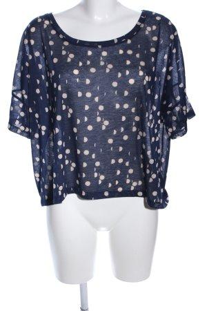 H&M Oversized Shirt blau-wollweiß Punktemuster Casual-Look