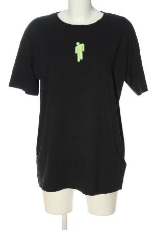 H&M Top extra-large noir-vert imprimé avec thème style décontracté