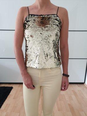 H&M Pailetten Top XS S 32 34 36 schwarz gold Shirt Bluse Tunika Oberteil Bodycon Silvester Party Neu