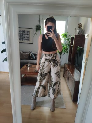 H&M Pantalon en lin blanc cassé-vert foncé