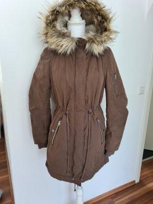 H&M Parka Winterjacke lange Jacke Daunenjacke in braun 36