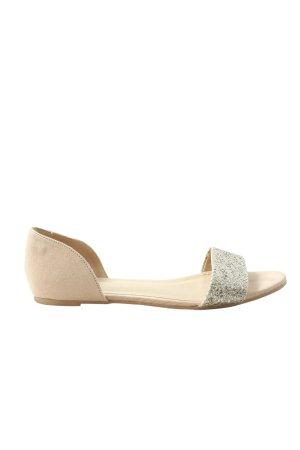 H&M Baleriny z odsłoniętym palcem w kolorze białej wełny-srebrny
