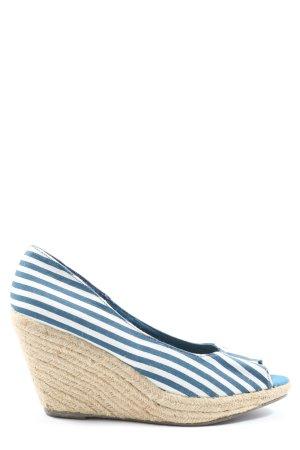 H&M Peeptoe Pumps weiß-blau Streifenmuster Casual-Look