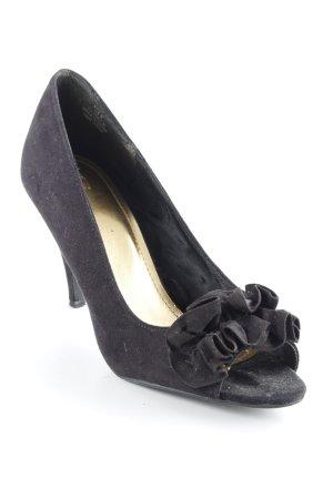 H&M Peeptoe Pumps schwarz-goldfarben Elegant