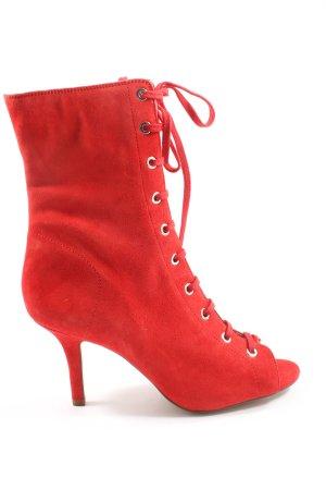 H&M Patucos con punta abierta rojo estilo extravagante