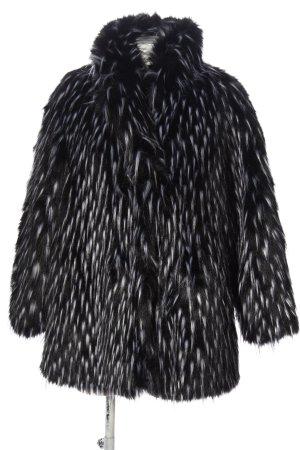 H&M Manteau de fourrure noir-bleu motif abstrait style décontracté
