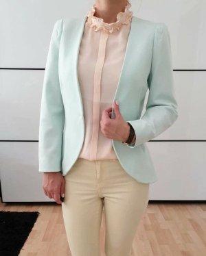 H&M Peplum Blazer 34 36 XS S mint knit Schößchen Jacke Cardigan Mantel Top