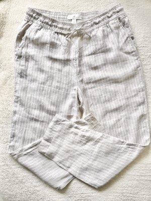 H&M Petite Ankle Stoff Sommer Hose gestreift beige weiß Gr. 38