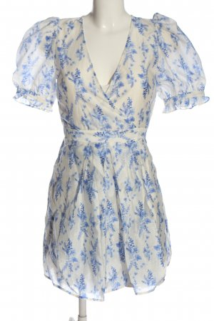 H&M Petticoatkleid weiß-blau Allover-Druck Casual-Look
