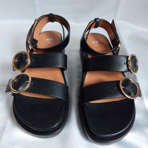H&M Platform High-Heeled Sandal black-nude imitation leather