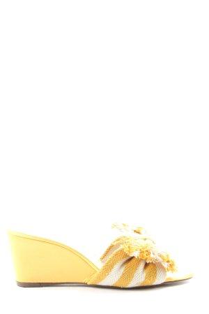 H&M Plateau-Sandalen blassgelb-wollweiß Streifenmuster Casual-Look