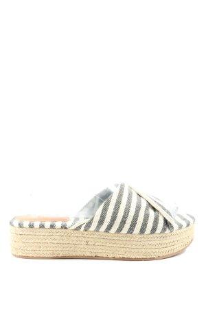 H&M Plateauzool sandalen wit-lichtgrijs gestreept patroon casual uitstraling