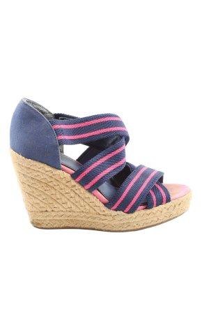 H&M Wedges Sandaletten blau-pink Streifenmuster Casual-Look