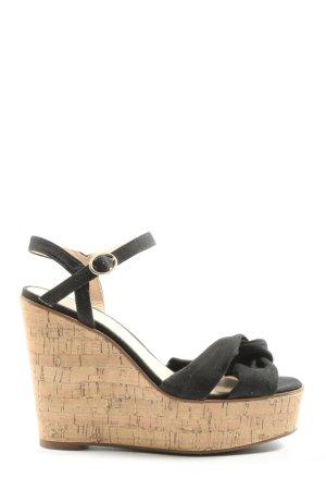 H&M Plateau-Sandalen schwarz-wollweiß Casual-Look