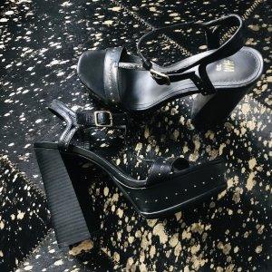 H&M Sandalo con plateau nero-color cammello