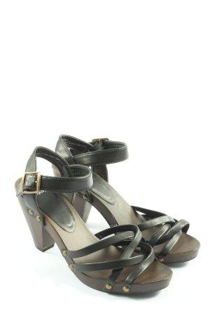 H&M Sandales à talons hauts et plateforme noir-brun style décontracté