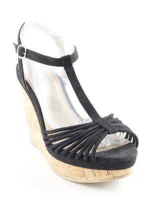 H&M Plateau-Sandaletten schwarz-beige Casual-Look