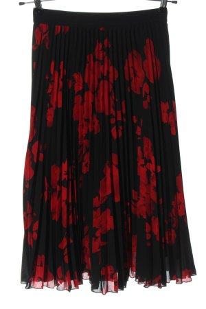 H&M Falda plisada negro-rojo estampado floral look casual