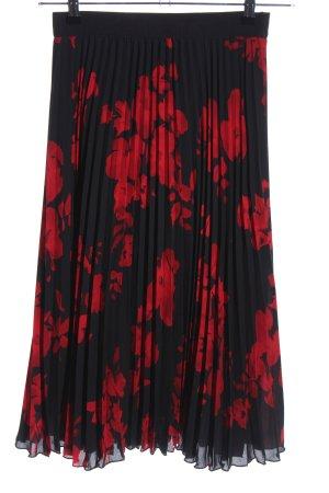 H&M Jupe plissée noir-rouge motif de fleur élégant