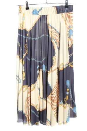 H&M Plisseerock blau-creme abstraktes Muster Casual-Look