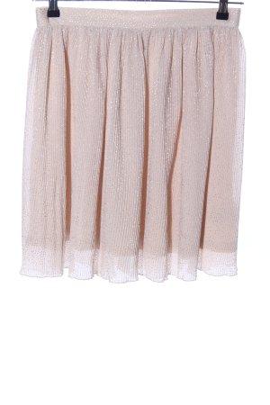 H&M Plisowana spódnica nude-srebrny Wzór w paski Elegancki