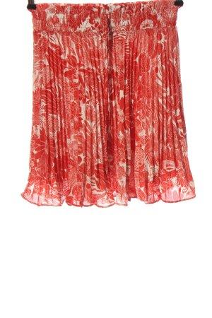 H&M Falda plisada rojo-blanco estampado repetido sobre toda la superficie