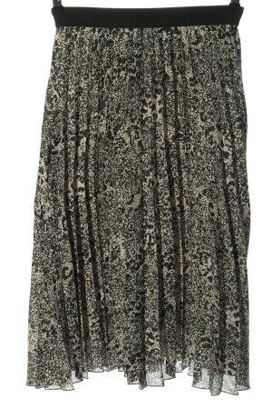 H&M Falda plisada crema-negro estampado con diseño abstracto look casual