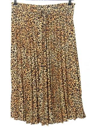 H&M Jupe plissée brun-noir motif léopard style décontracté