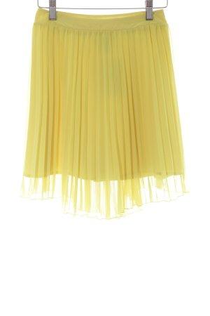H&M Plisseerock gelb Elegant