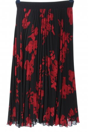 H&M Jupe plissée noir-rouge motif de fleur style décontracté