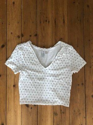 H&M Polka Dot Shirt Bluse Kurz Cropped