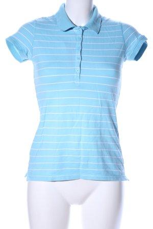 H&M Polo-Shirt blau-weiß Streifenmuster Casual-Look