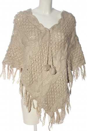 H&M Poncho creme Zopfmuster Casual-Look