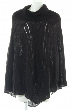 H&M Poncho schwarz Zopfmuster Casual-Look