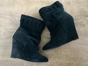 H&M Premium Boots Wedges Keilabsatz Schwarz Wildleder 37