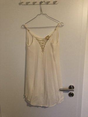H&M Premium Chiffon Kleid in cremeweiss
