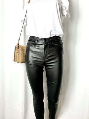 H&M Leather Trousers black leather