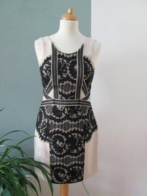 H&M Premium Kleid Spitze schwarz nude Gr.36 neu m. Etikett