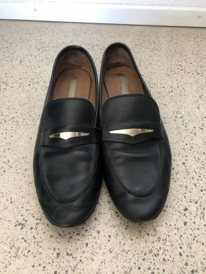 H&M Premium Mocasines negro-color oro