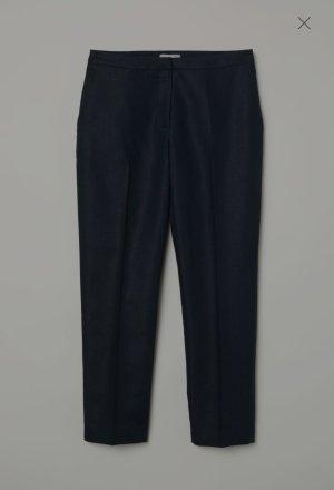 H&M Premium Pantalone di lino blu-blu scuro