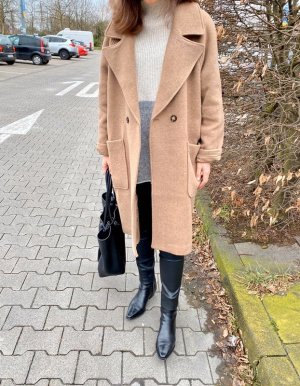 H&M Premium Oversized Coat beige-camel mixture fibre
