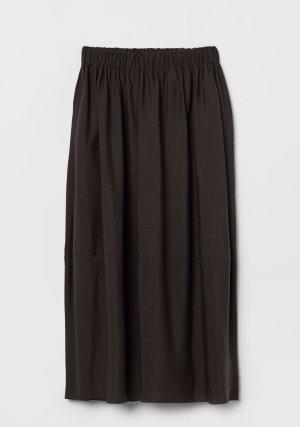 H&M Premium Lniana spódnica ciemnobrązowy