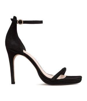 h&m Premium Studio High Hell Sandalette Velours Leder black 35/36