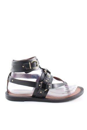 H&M Premium Zehentrenner-Sandalen schwarz Casual-Look