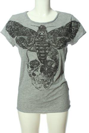 H&M Print-Shirt hellgrau meliert Casual-Look