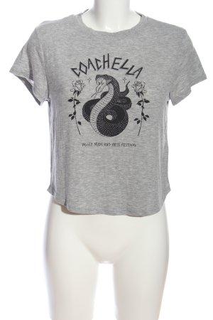 H&M Print-Shirt hellgrau-schwarz meliert Casual-Look