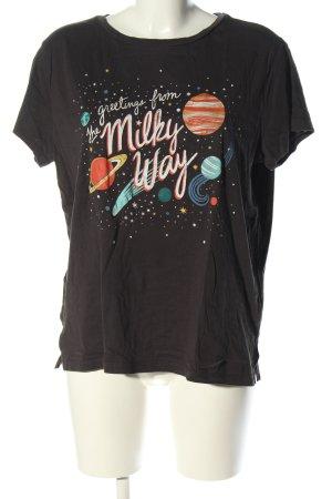 H&M Print-Shirt schwarz Motivdruck Casual-Look
