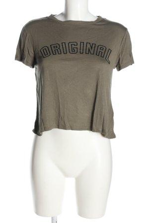 H&M Print-Shirt braun-schwarz Schriftzug gedruckt Casual-Look